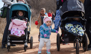 Strollers and toddler walking
