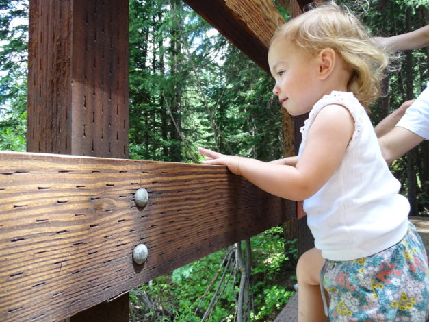 Little girl on a bridge on the Maroon Bells Trail