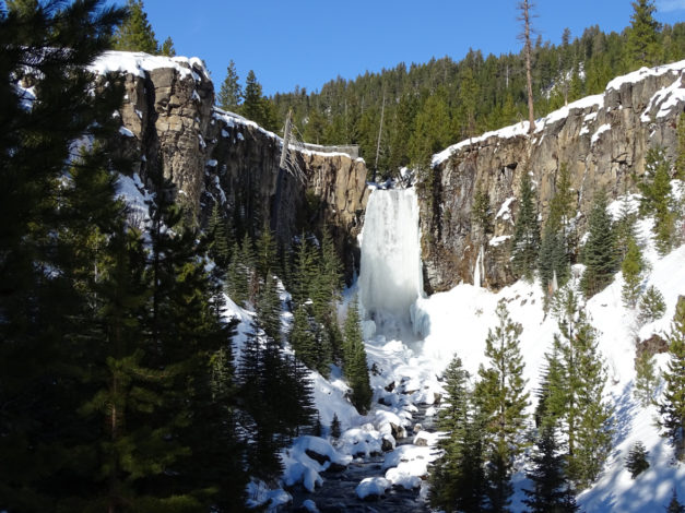 Frozen Tumalo Falls in the Winter