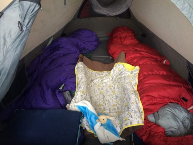 2 Man tent set up to accomodate 2 adults and an infant