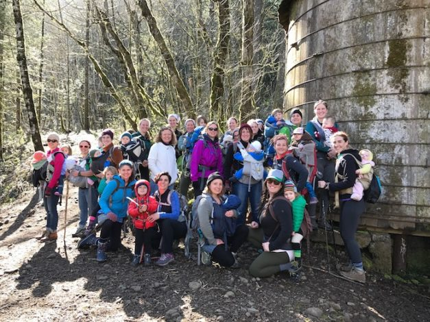 Group of 20 women and 26 children all ready to go hiking