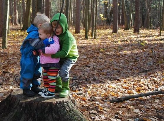 Love, Happiness & Friendship: Making Moving Easer by Carrie Wenzel for Hike it Baby (image of two children hugging a third child, while standing on a tree stump in the middle of a wooded forest)