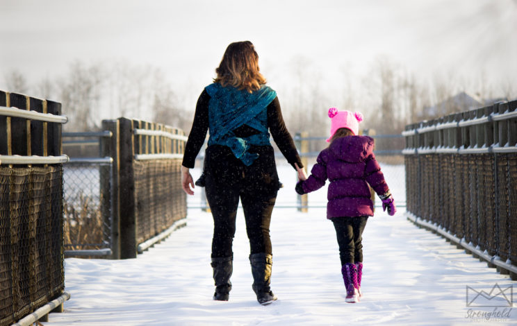 Hiking as Therapy by Momma Luvz for Hike it Baby (image of a mom with her daughter walking along a snow covered path)