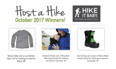 October Host a Hike winners for Hike it Baby