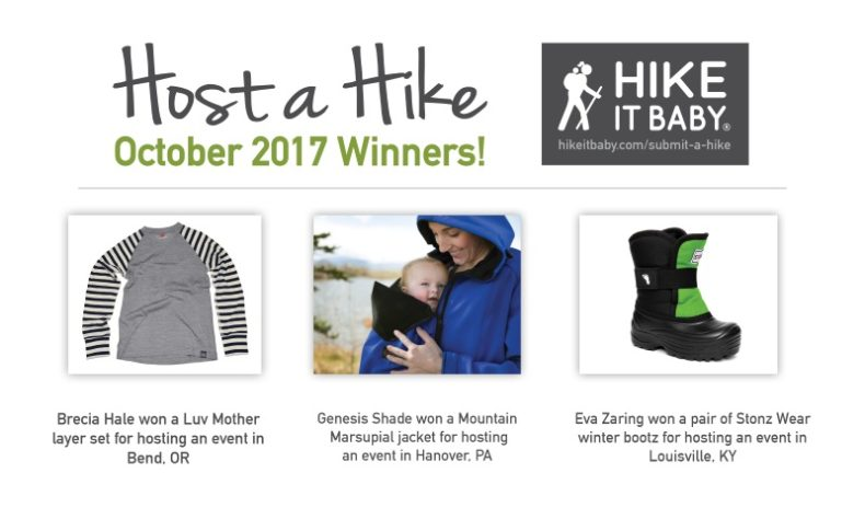 October Hike a Host winners for Hike it Baby