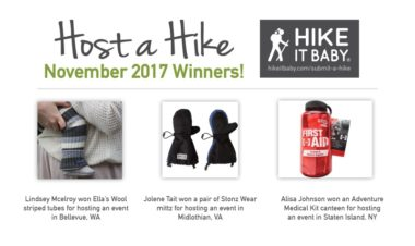 Host a Hike November 2017 Prize Winners for Hike it Baby