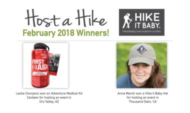 February 2018 Host a Hike winners for Hike it Baby