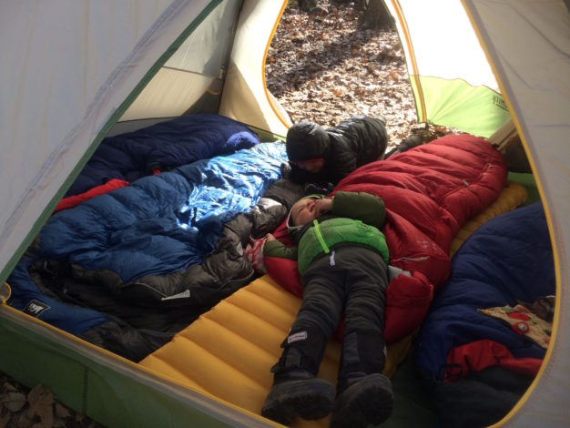 Love the Layer You're In by Heidi Schertz for Hike it Baby (Two young boys camping in winter inside a tent)