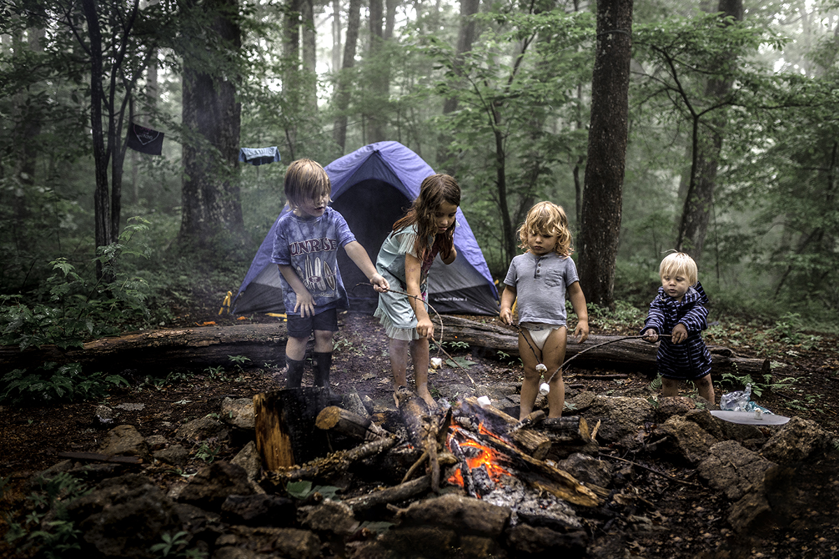 kids at a camping site