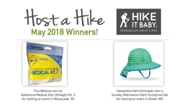 Host a Hike May 2018 prize winners for Hike it Baby