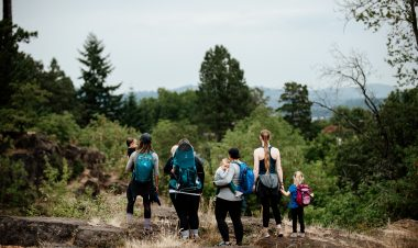 families hiking together