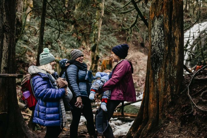 women and mothers hiking with kids