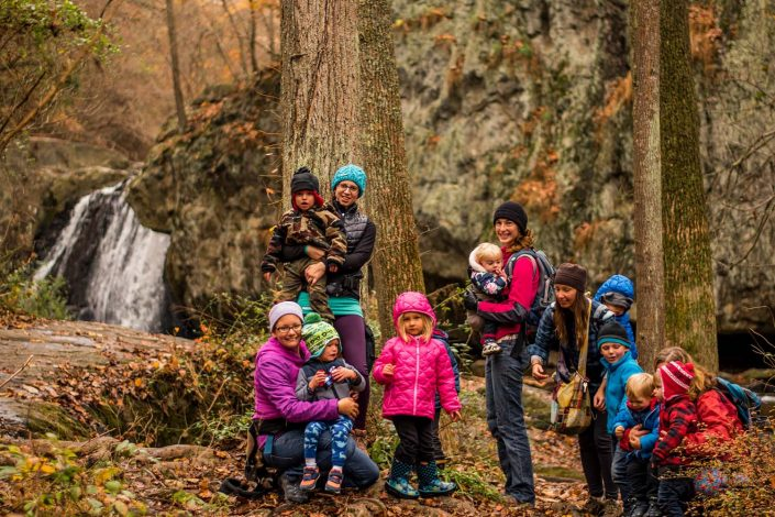 group of moms and children on a hike