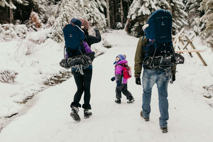 family on a winter hike
