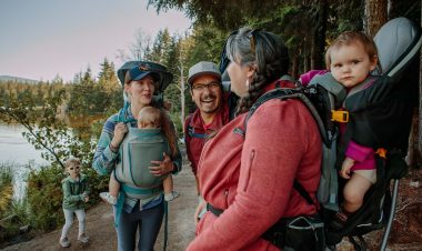 group of parents hiking