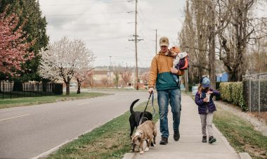 father children and dog walking on the sidewalk