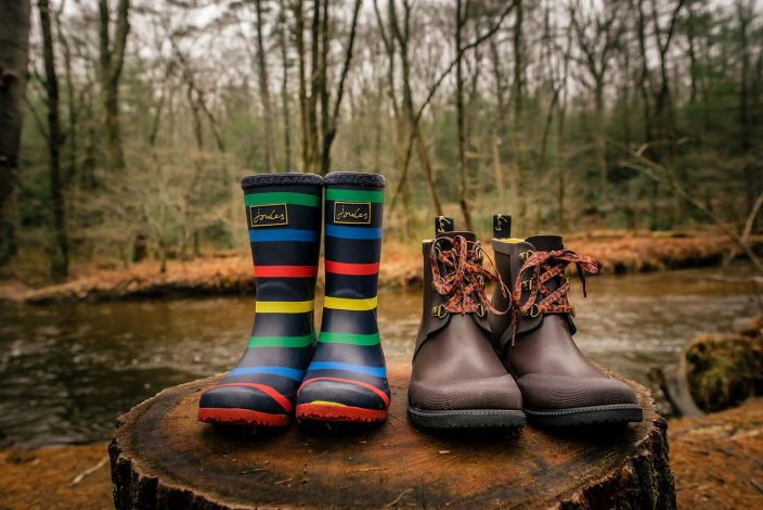 wellie rain boots in the woods