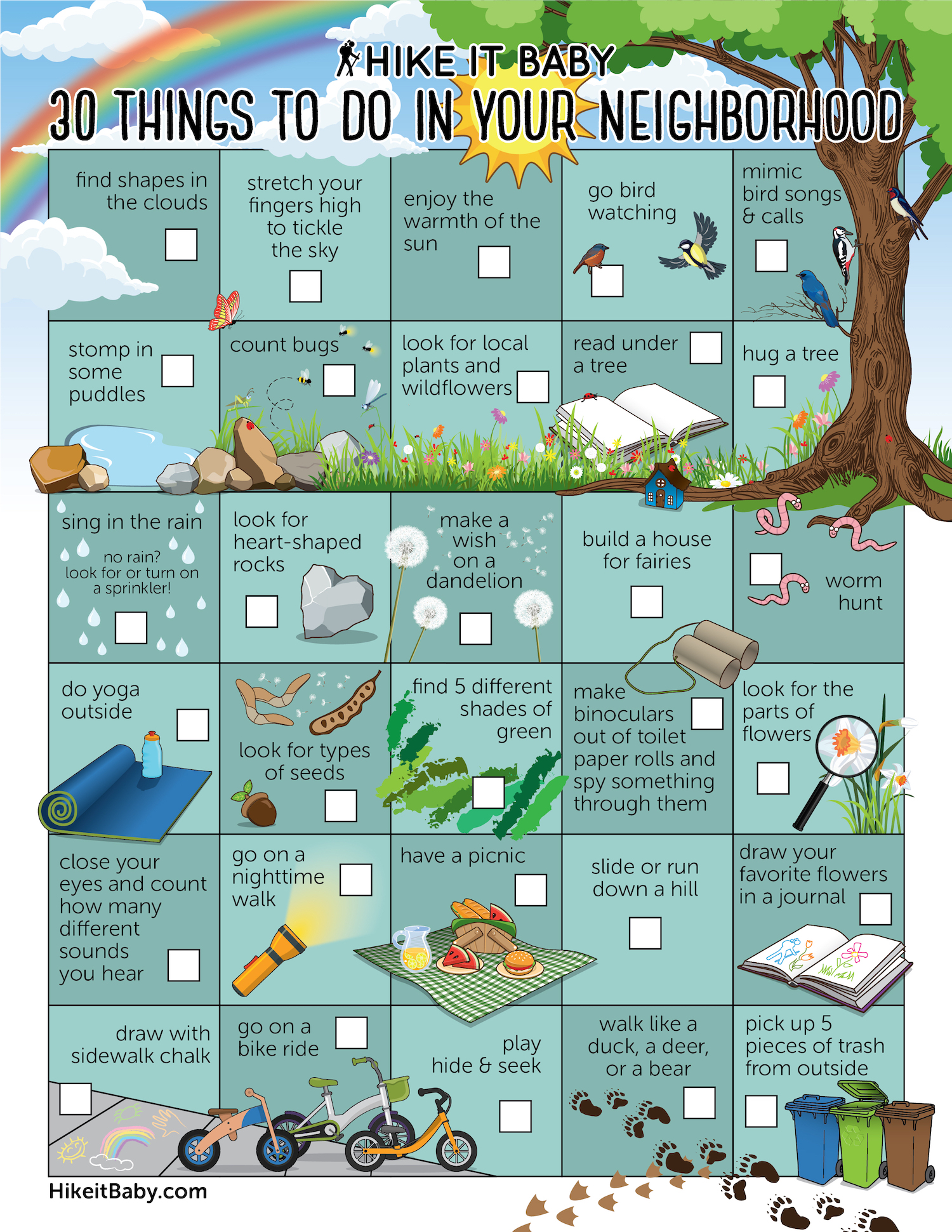 30 things to do in your neighborhood activity sheet download