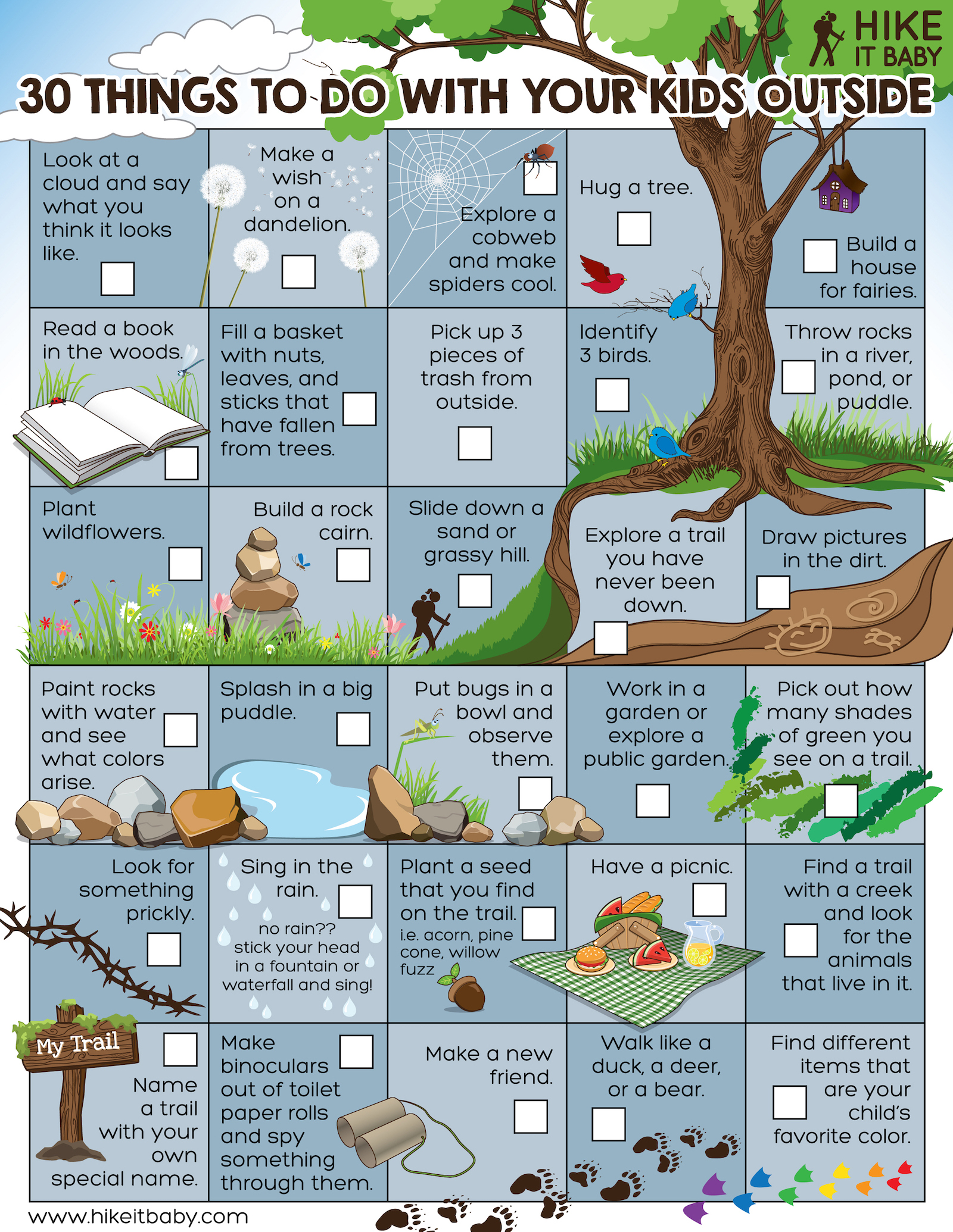 30 things to do outside activity sheet download