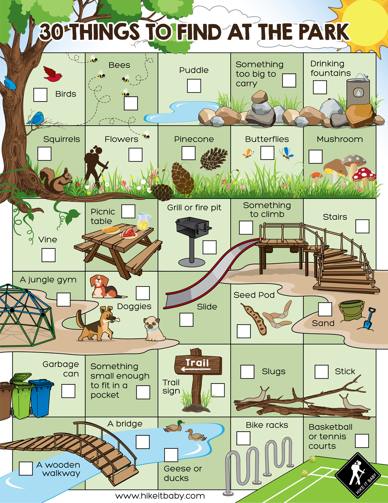 30 things to find at the park activity sheet download