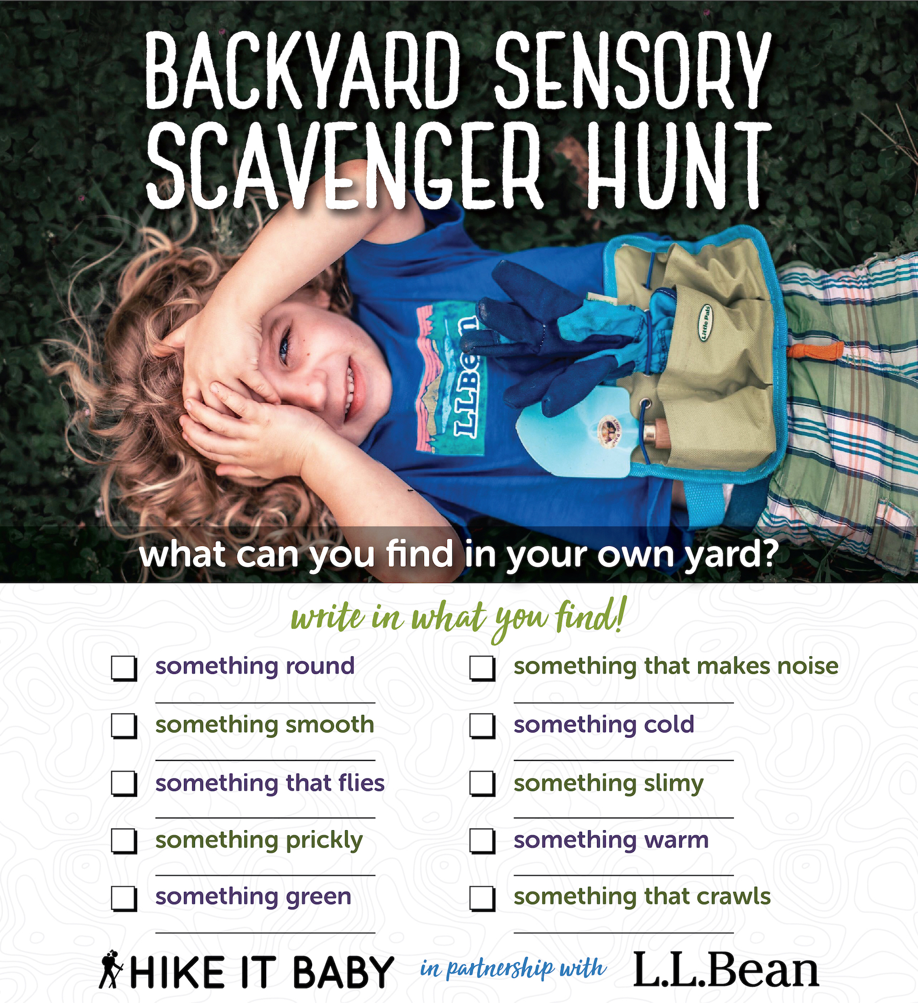 backyard sensory scavenger hunt sponsored by LL Bean activity sheet download
