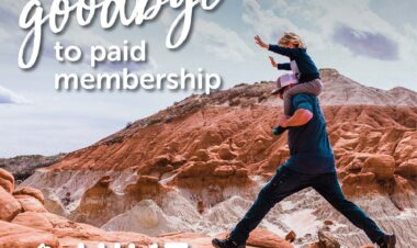 """Boy on father's shoulder leaping over a rocky surface with mountains in the background. Text says We're saying Goodbye to Paid Membership"""""""