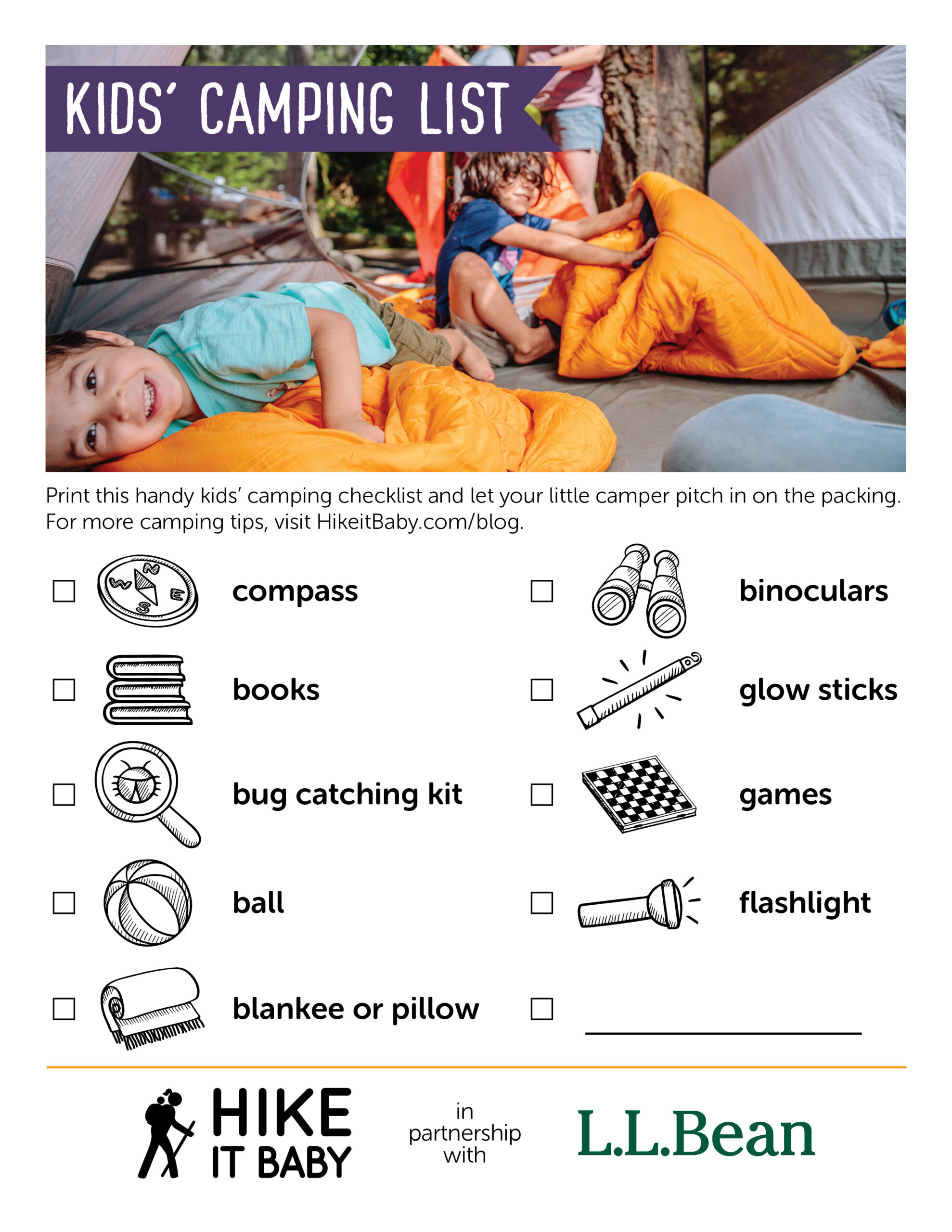 Kids' Camping Checklist sponsored by LL Bean activity sheet download