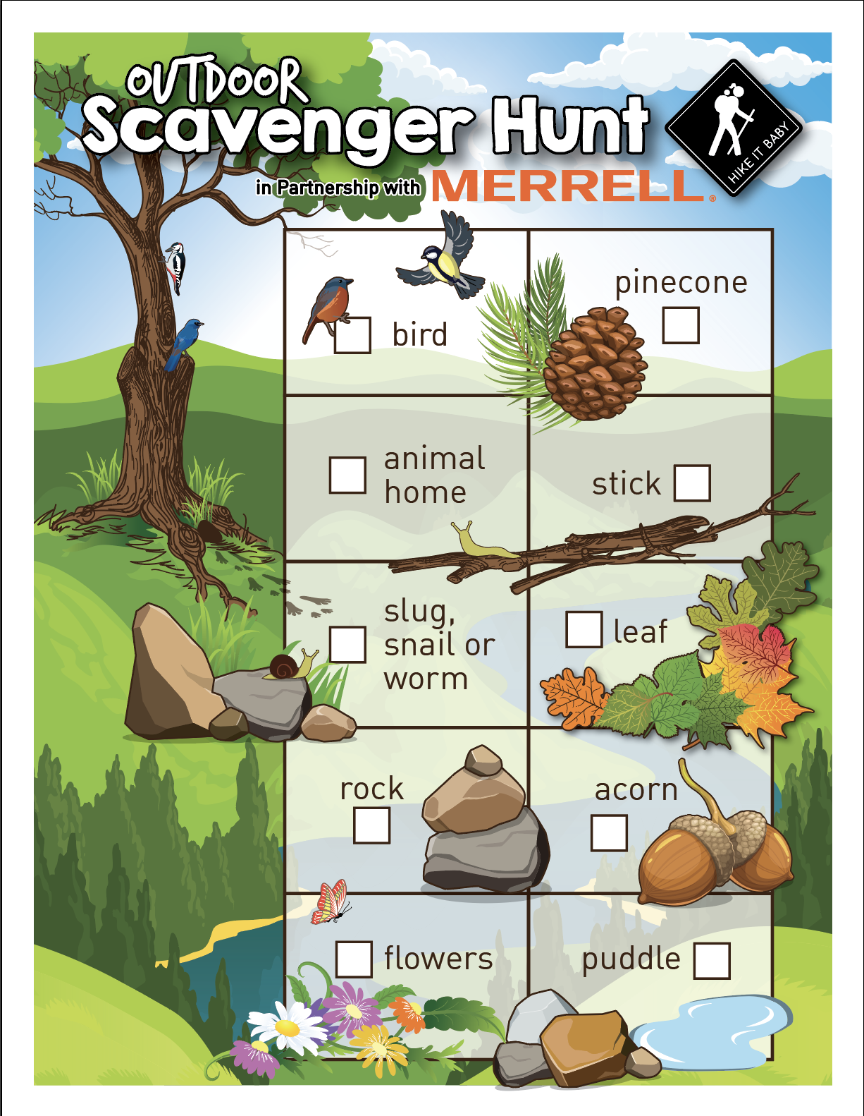 Toddler Scavenger Hunt sponsored by Merrell activity sheet download