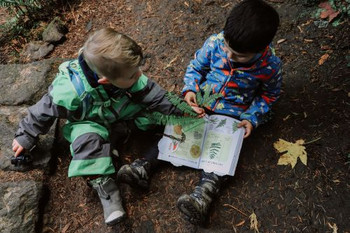 Outside learning with books.